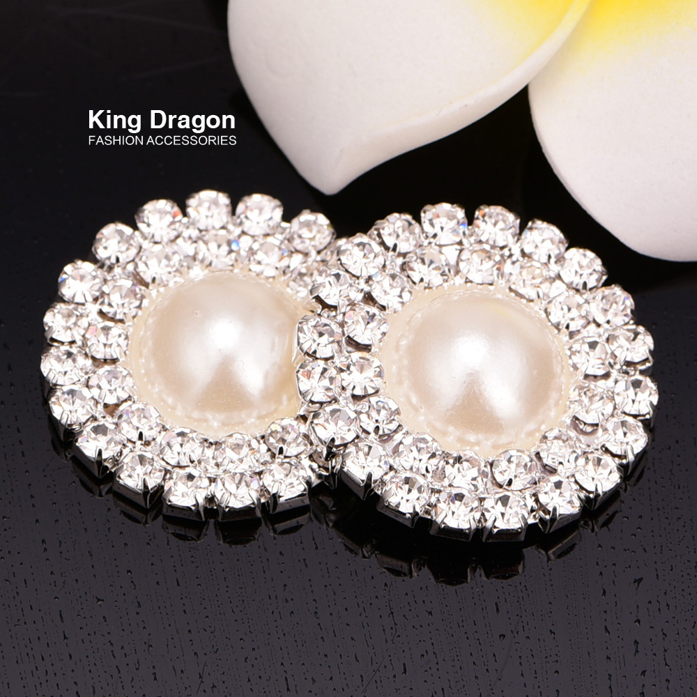 Crystal Double Row Rhinestone Button Pearl Button Used On Invitation Card 25MM Flat Back Silver Color 100pcs/lot