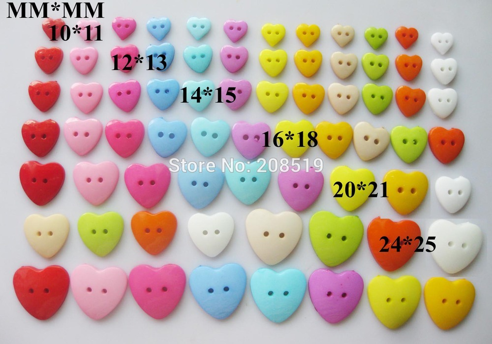 NB0013 Mixed Sizes Scrapbooking Buttons 200pcs 10mm 12mm 15mm 18mm 20mm 25mm 2 Holes Heart Button Plastic Craft Accessories
