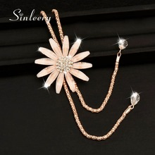 SINLEERY 2017 New Sexy Big Flower Double Lines Long Pendant Women Necklace Sweater Chain Statement Jewelry Accessories My266