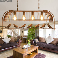 Vintage Iron Pendant Light American Industrial LOFT Bar Cafe bird Decor Hanging Lamp Lamparas Lustre 4 heads birdcage lamp