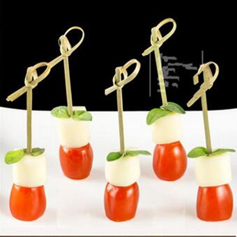 100pcs! New Chinese bamboo craft ring fruit toothpick dessert cocktail sign birthday party wedding decorative tableware