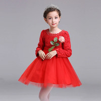 Chinese Girl Dress Kids Long Sleeve Daily Wear O Neck Children Red Spring Autumn Dress Princess