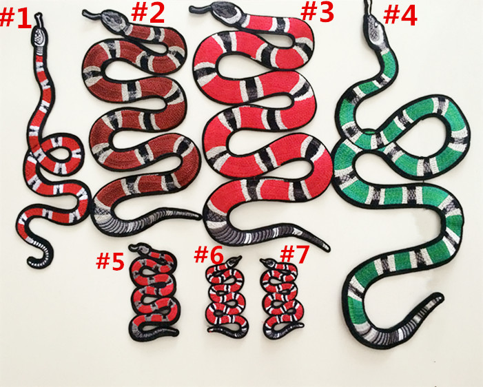 2017 retro embroidery red snake cloth stickers fashion ...