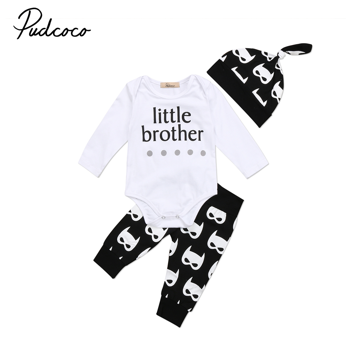 Toddler Newborn Baby Boys Letter Long Sleeves Tops Romper+cartoon Long Pants+hat 3pcs Outfits Set Clothes 0-24m