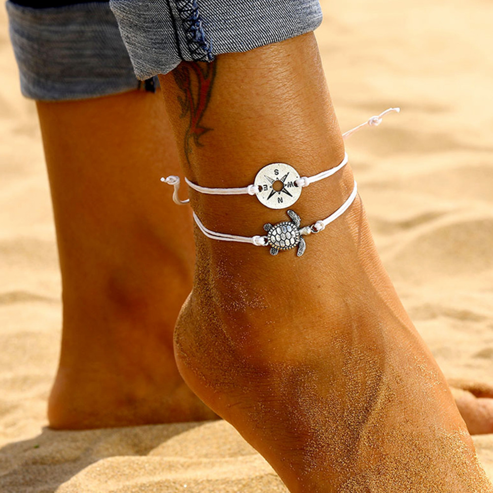 Vintage Compass Turtle Shaped Charm Rope String Anklets For Women Bohemian Ankle Bracelet Barefoot Leg Chain Foot Jewelry