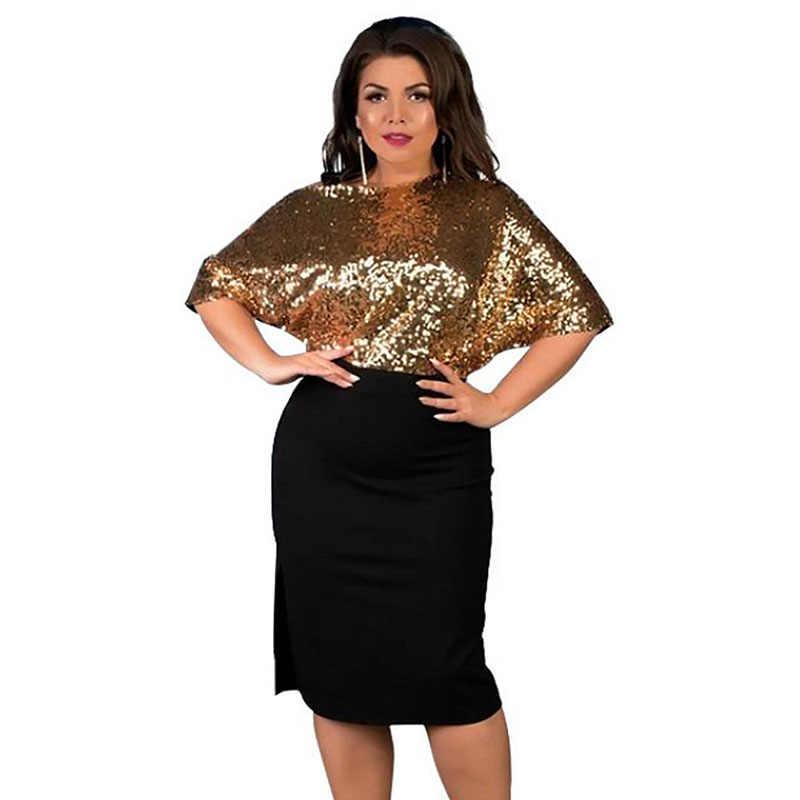 Wipalo плюс Размеры колокол с расклешенными рукавами с пайетками элегантные Платья для вечеринок Для женщин черный, красный клуб платье футляр бодикон платья больших размеров 6XL