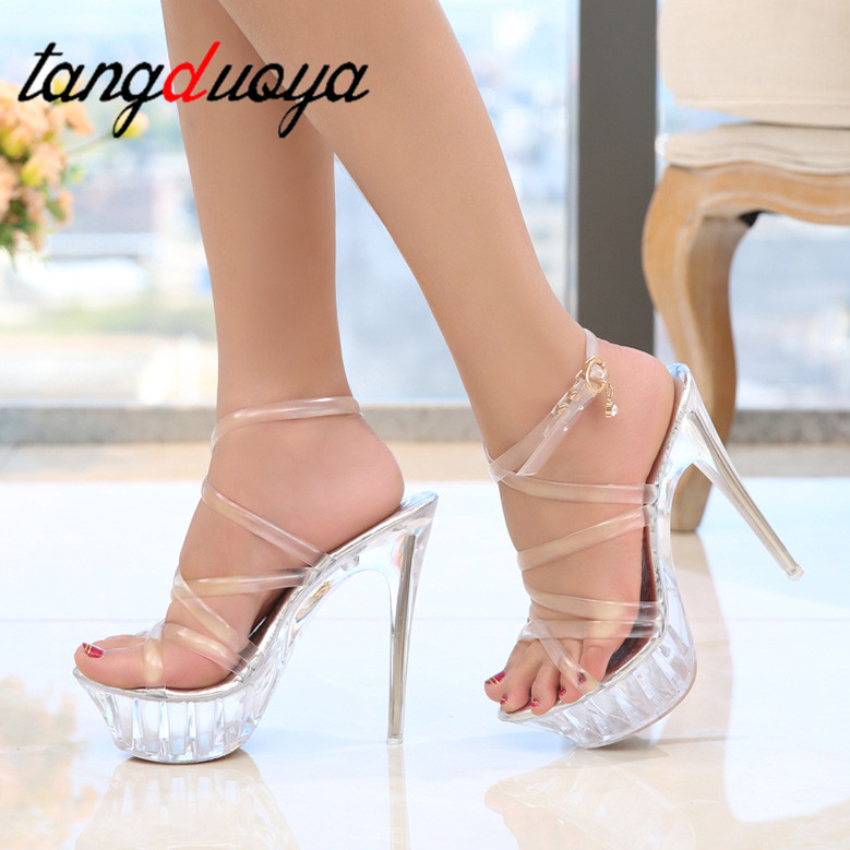 Tenacity Clear PVC Women <font><b>Sandals</b></font> Transparent Crystal <font><b>High</b></font> <font><b>Heels</b></font> <font><b>Platform</b></font> <font><b>Sandals</b></font> Open Toe <font><b>High</b></font> Stripper Shoes women Big size 43 image
