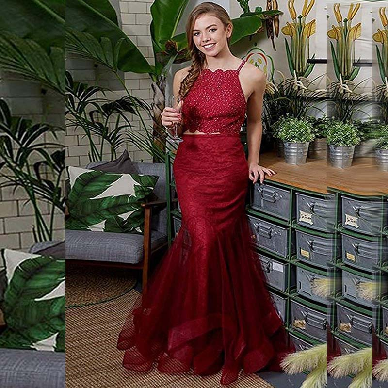 Allurinf 2019 Evening Dressed Long Halter Multilayered Tulle Beaded Prom Gown 2 Piece Formal Party Dress robe de soiree