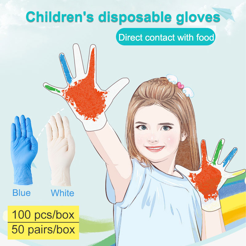 Medicom Latex Nitrile Disposable Gloves For Children Kids Food Grade Kitchen 100pcs Waterproof Non-Slip Work Gloves Safety Boxed