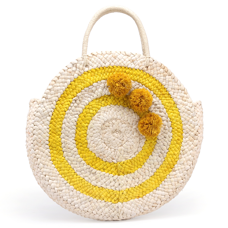2018 Summer Large Round Straw Beach Bag Tassels Pom Pom Women Natural Handbag Corn Skin Totes Bag Yellow Striped Circular straw clutch bag with pom pom