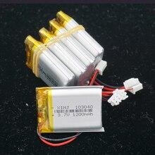 XINJ 5 piezas 3,7 V 1200mAh Li batería de polímero de litio li po celular 2pin JST PH 2,54mm plug 103040 para GPS MID E book reproductor de juegos de teléfono