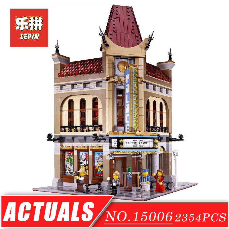 LEPIN 15006 Street View Series Palace Cinema Set DIY Model Building Kits Blocks Bricks Children Toys Christmas Gift Brinquedos lepin 15036 genuine street series the new carousel diy set model building kits blocks bricks children toy hobbies christmas gift