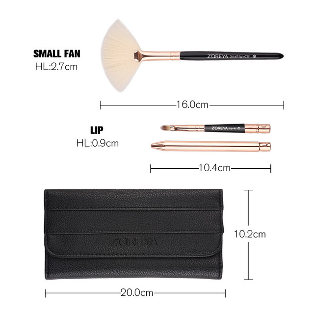 Zoreya Brand 8pcs High Quality Synthetic Fibers Makeup Brush Set Powder Foundation Large Eye Shadow Angled Brow Brushes 3 Colors 3