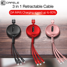 CAFELE 3 in 1 Retractable USB Cable charger Micro Type C 8 Pin USB cable for iPhone samsung huawei xiaomi Data Sync USB Cable 3 in 1 type c micro usb 8 pin cable