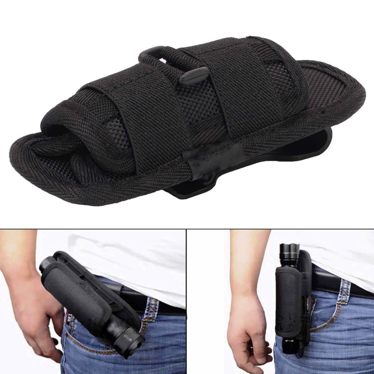 Black Flashlight Holster Belt Carry Case Flashlight Pouch Holster Combat Utility Case Durable Electronic Torch Hunting Belt цена