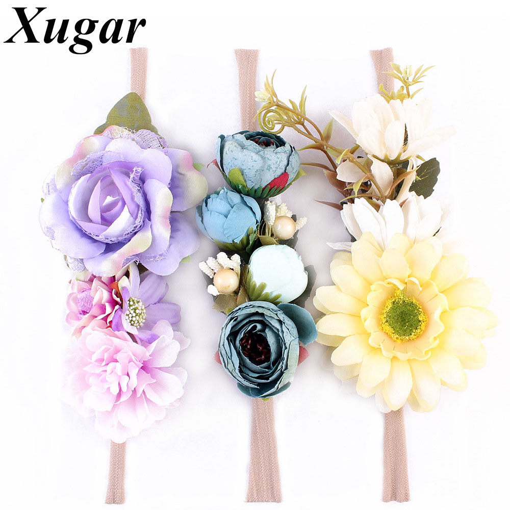 3 Pieces/Set Princess Girls Flowers Headband with Nylon Elastic Band Photography props for Newborn Hair Accessories Hair Bands rechargeable hair clipper with accessories set 220 240v ac