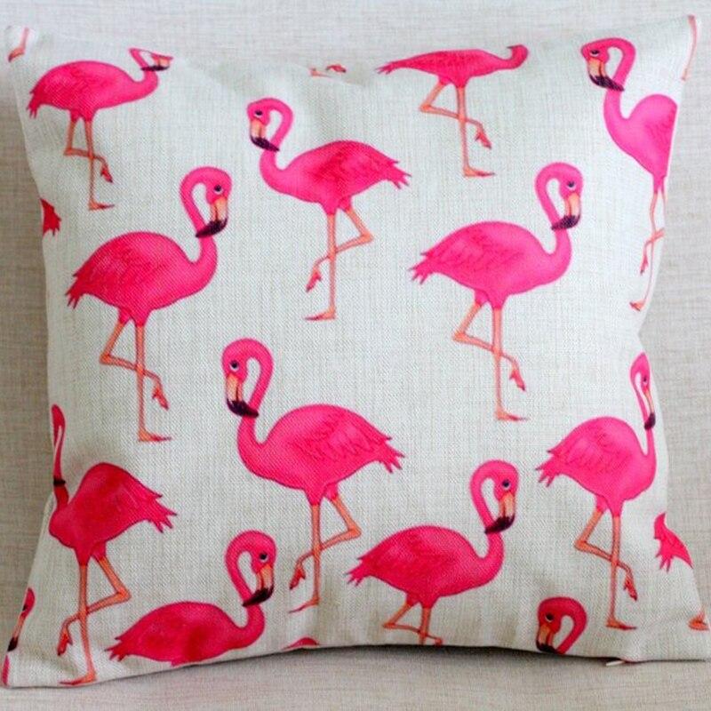 Decoración del hogar Almofadas Rose Red Flamingos Funda de cojín de - Textiles para el hogar