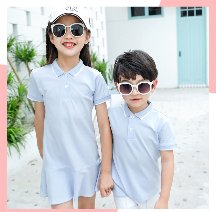 HTB16MG5XEY1gK0jSZFCq6AwqXXal - family matching outfits summer Polo shirt mother daughter matching dresses dad son turn down collar family couple clothes