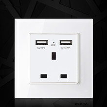 UK standard 1 gang socket with 2 USB chargering, 3 Pin White glass panel wall socket and 2100mA USB wall plug outlet livolo manufacture grey glass panel 2 gangs wall computer and tv socket outlet vl c791vc 15 without plug adapter