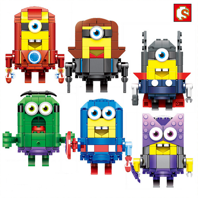 SEMBO Small Blocks Minion DIY Building Toys Bricks Educational Blocks brinquedos Cartoon Model Toy for Children Gifts SD6001 2015 new gift smae as loz building blocks small animal minion mario transformation minifigures cartoon characters 3d bricks toys