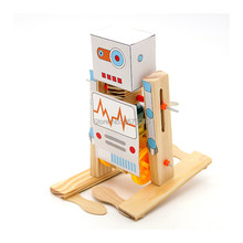 DIY Wooden Electric Science Walking Robot Toy Model Kits,Physical Science Experiment Kits Creative Robot Set Educational Toys(China)