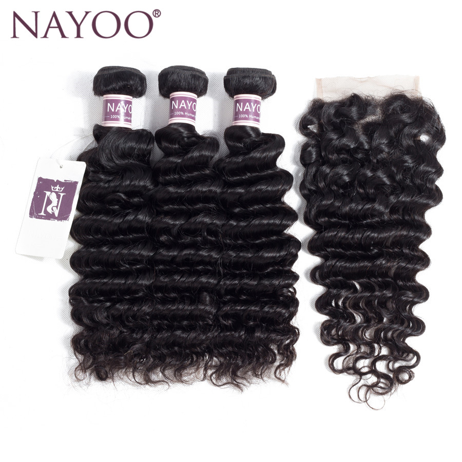 NAYOO Hair Deep Wave Brazilian Hair With Lace Closure 8-26inch Free Part Closure 100% Human Hair Bundles Natural Color Non Remy