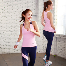 Yoga set for women 2 piece solid sleeveless and long pant tracksuits running training fitness breathable clothing for yoga