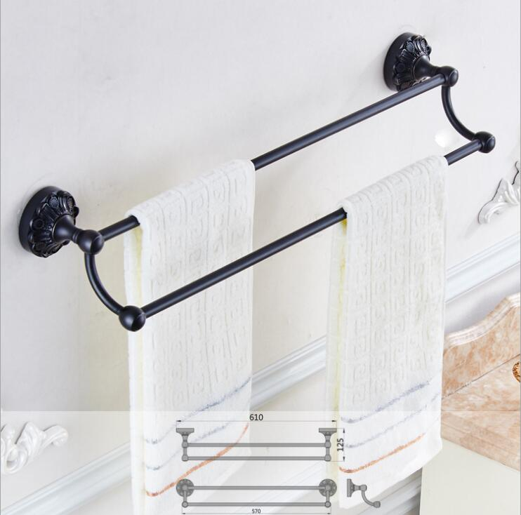 24 inch Double Towel Bar,Towel Holder, Black Oil Brushed Towel rack Solid Brass ,Antique Bathroom Accessories luxury towel rail free shipping wall mounted bathroom accessories oil rubbed bronze black double towel bar towel holder bathroom hardware yl 4711h