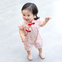 Summer baby jumpsuit breathable romper clothes New Chinese style plum blossom knot Hanfu short-sleeve childrens wear