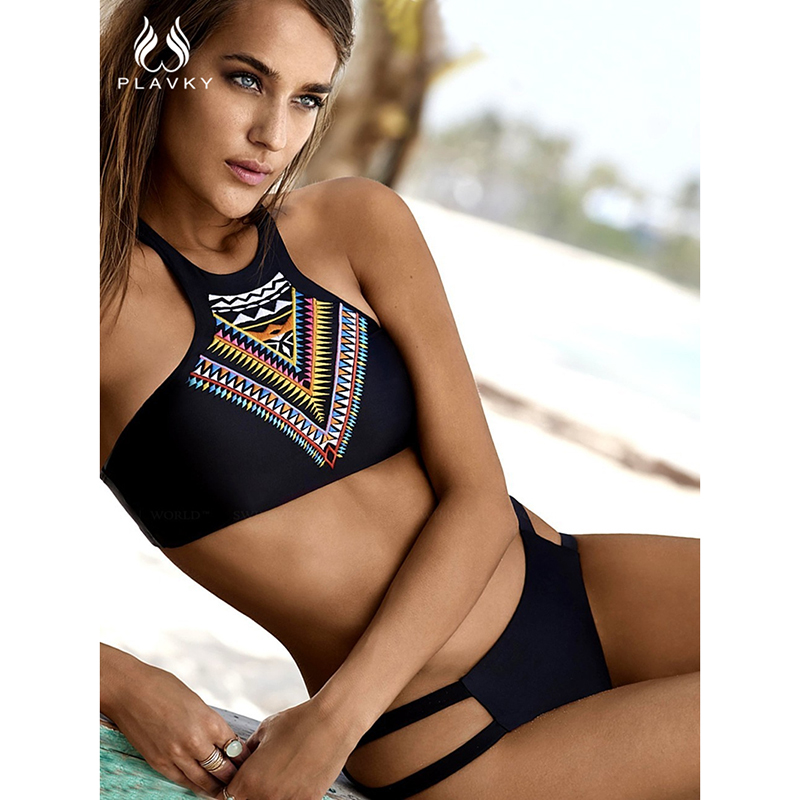PLAVKY Sexy Ladies High Neck Geometric Swimsuit Biquini Bathing Suit Female Swimwear Women Brazilian Push Up Bandage Bikini Set maheu 2017 sexy high neck halter thong bikini set push up women bandage hollow swimsuit swimwear female cut out bathing suit