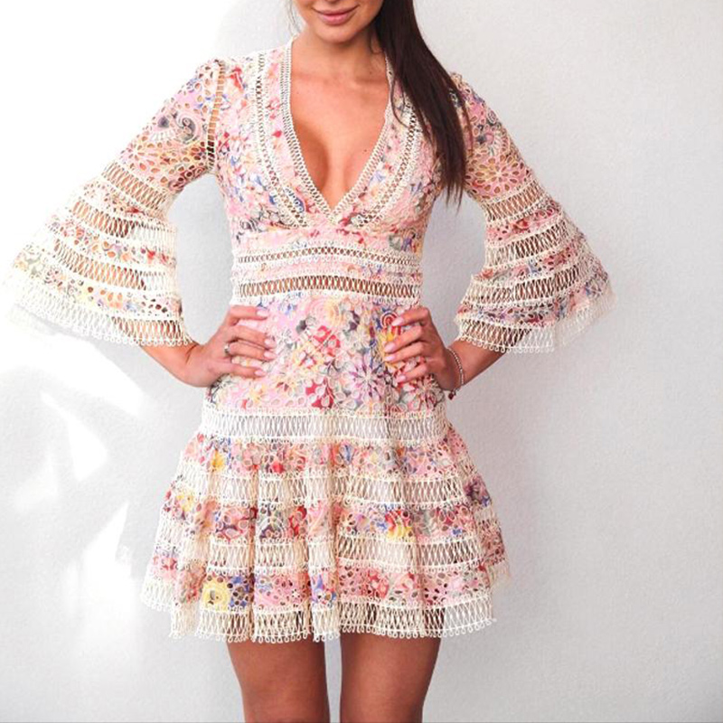 High Quality Sexy V Neck Hollow Out Lace Mini Dresses 2018 Runway Women Flare Sleeve Floral Boho Dresses Party Beach Vestidos