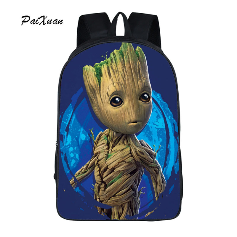 paixuan Hot! New Arrival Groot Backpack 16 Inch Backpack Fashion Backpack for School Bags Teenagers Boys Guardians of The Galaxy