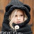 Bebê Chapéu e Cachecol de inverno Preto Conjunta Com Crochet Malha tampas para Meninos Infantis Meninas Miúdos Das Crianças Neck Warmer Inverno malha