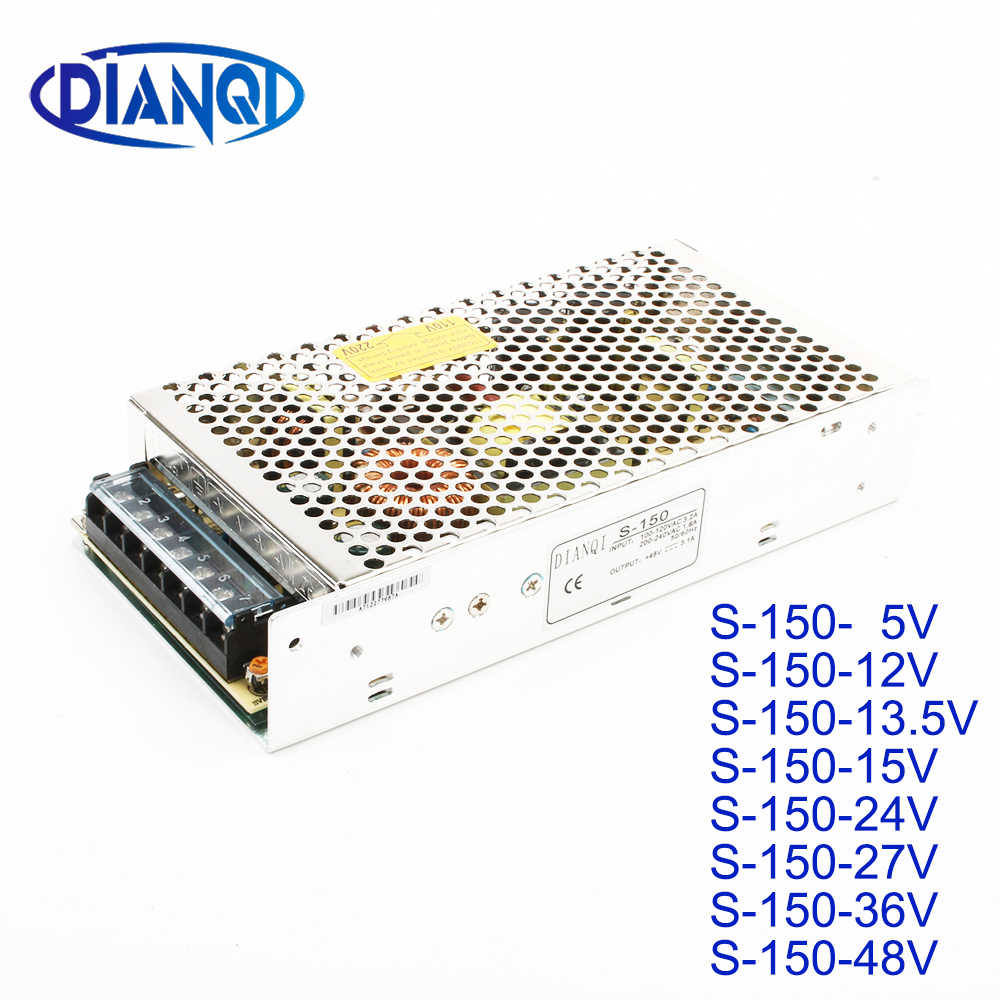 DIANQI светодиодный выключатель питания S-150W 5 в 12 В 13,5 в 15 в 24 в 27 в 36 В 48 В ac dc преобразователь блок питания регулятор напряжения постоянного тока