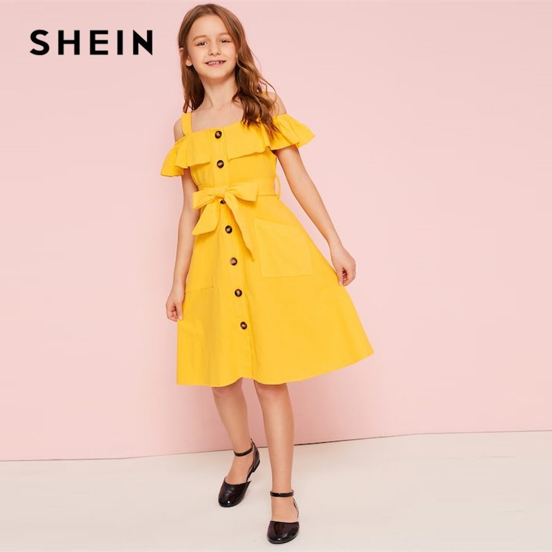 SHEIN Kiddie Yellow Cold Shoulder Ruffle Trim Belted Boho Shirt Dress 2019 Summer Button Front High Waist Knee Length Cute Dress plus knot open back ruffle trim bodysuit