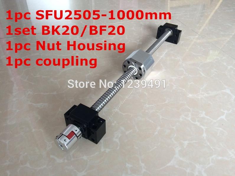 SFU2505-1000mm Ballscrew with Ballnut + BK20/ BF20 Support + 2505 Nut Housing +  17mm* 14mm  Coupling CNC parts tbi 2505 c3 800mm ballscrew 5mm lead ground with sfu2505 ballnut