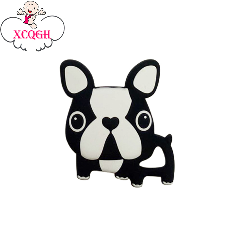XCQGH 5Pcs Baby Teething Necklace Silicone Teether Cartoon Dog Charms Baby Teether Silicone Toys Teethers 6 Colors