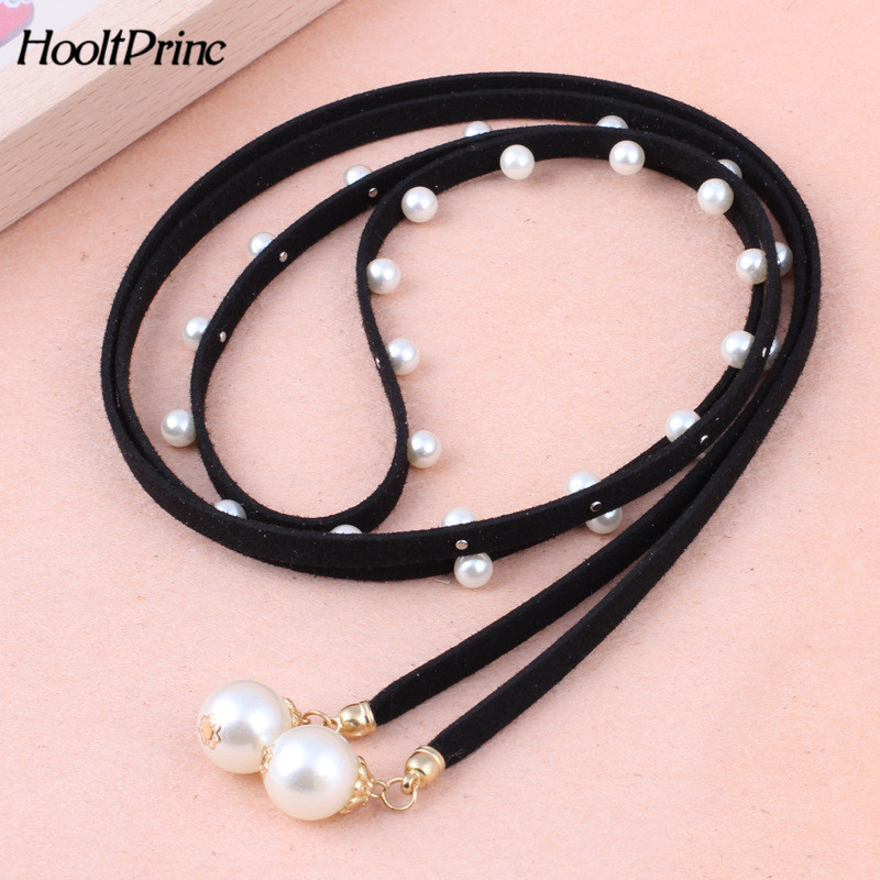 2019 New Fashion Beading Decor Belt Korea Style Solid PU Leather Pearl Knitted Belts For Women Elastic Simple Elegant Belt Women