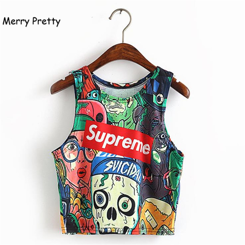 Merry Pretty Fashion Women Tshirts Crop Top Sleeveless letter Printed Casual Summer Top Female Short Cropped Tops Vest Tank Top