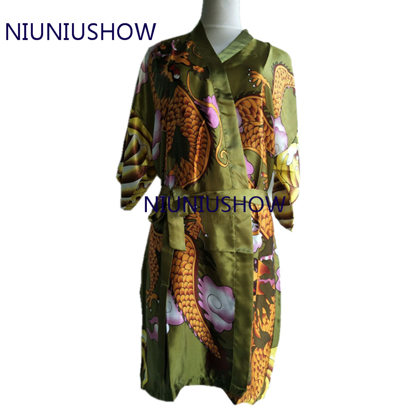 Hot Sale Green Women's Sleepwear Bath Silk Robe Sexy Lingerie Striped Dragon Sleepwear Kimono Satin Robes Bathrobe
