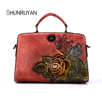 SHUNRUYAN New handbags fashion temperament Handmade retro cow leather craft classic style rose trendy ladies Small square packag