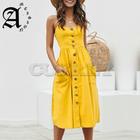 Ameision women dress Elegant button Pocket polka dots cotton midi dress Summer casual female plus size lady beach vestidos