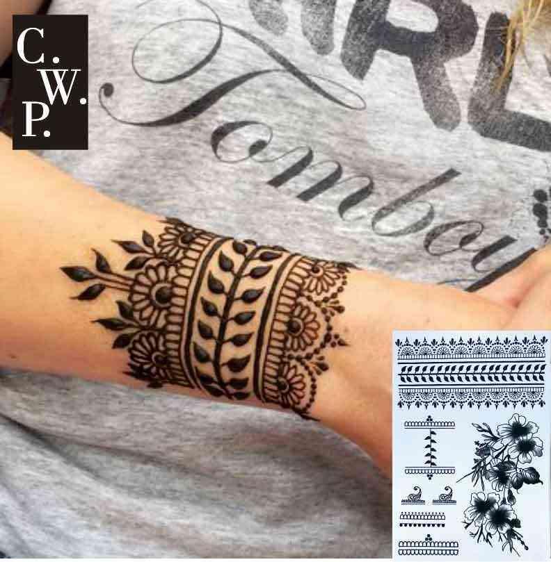 Bh1704 1 Piece Black Henna Cuff Tattoo With Flower Wrist