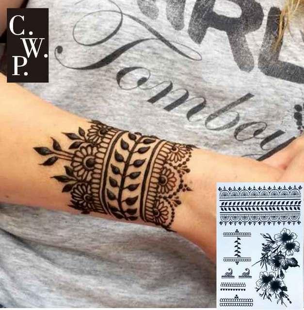 Henna Wrist Bracelet: #BH1704 1 Piece Black Henna Cuff Tattoo With Flower Wrist