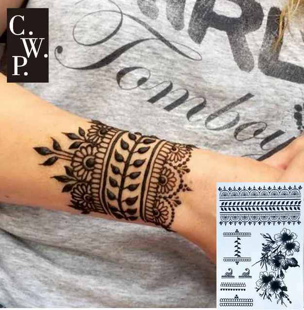 Bh1704 1 Piece Black Henna Cuff Tattoo With Flower Wrist Pattern