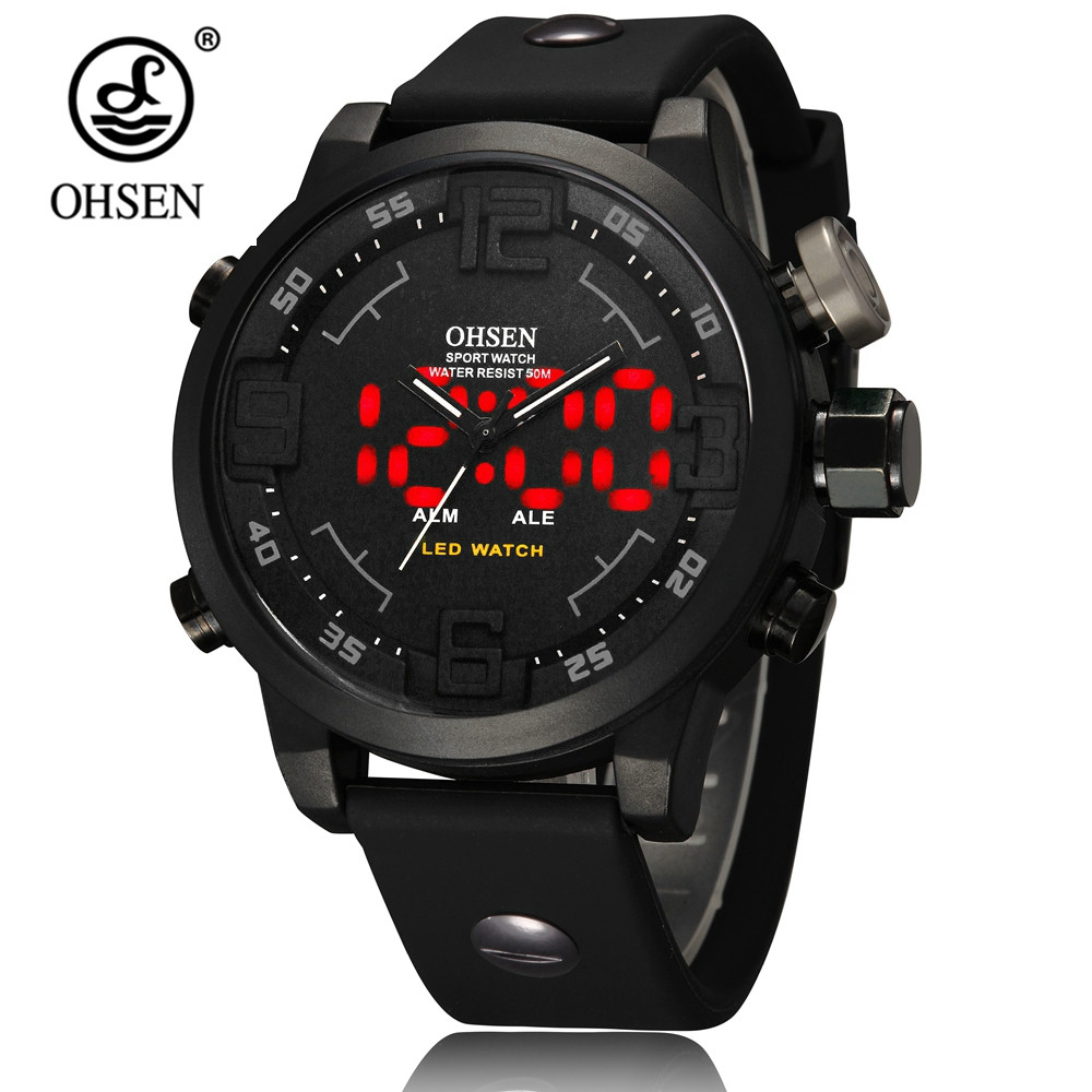 Fashion Brand OHSEN digital Quartz Business Military Mens Wristwatch Waterproof Rubber Black Band LED Gift Watch male Hand Clock top brand ohsen fashion dual time led clock sports waterproof male watch digital anolog mens army wristwatch quartz montre homme