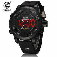 Fashion Brand OHSEN digital Quartz Business Military Mens Wristwatch Waterproof Rubber Black Band LED Gift Watch male Hand Clock