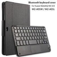 For Huawei MediaPad 10 0 M2 A01W M2 A01L Magnetically Detachable ABS Bluetooth Keyboard Portfolio PU
