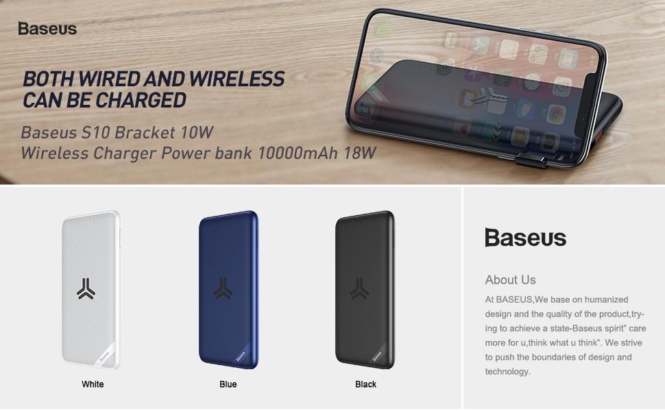 Baseus S10 Bracket 10W Wireless Charger Power bank 10000mAh 18W 5