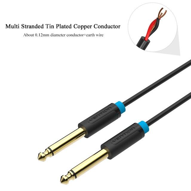 Vention 6.5mm Jack câble Audio plaqué or 6.5 Jack à Jack AUX câble 0.5 m 1 m 1.5 m 2 m 3 m pour guitare mélangeur amplificateur Aux Cabo